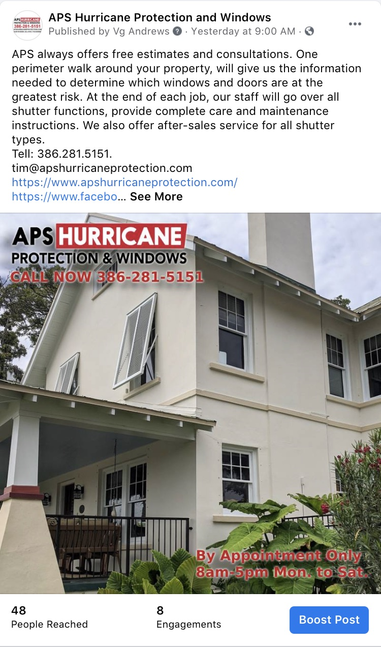 Social Media Marketing-APS Hurricane Protection and Windows