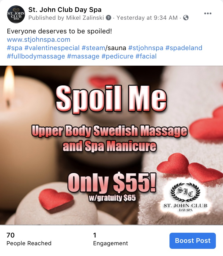 Social Media Marketing-St. John Club Day Spa