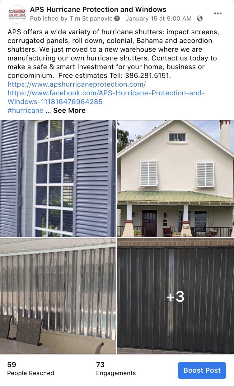 Social Media Marketing-APS Hurricane Protection and Windows