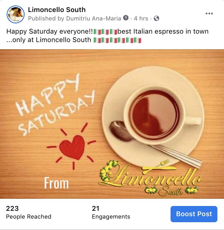 Social Media Marketing-Limoncello South Italian Restaurant